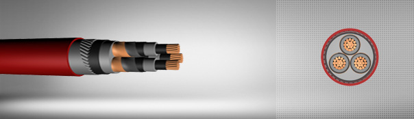 20.8/36 kV XLPE insulated flat steel wire armoured, three core cables with copper conductor